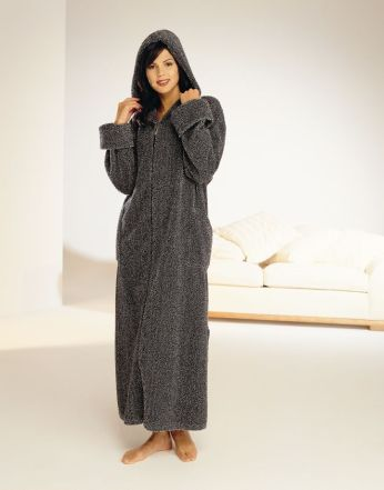 Chenille Zip Dressing Gown With Hood