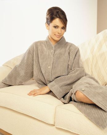 Super Soft Button Closure Dressing Gown